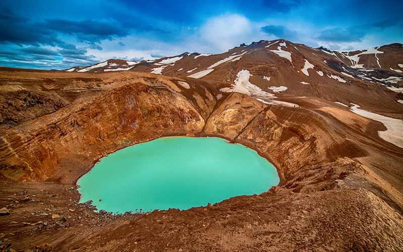 Askja volcano crater in Iceland