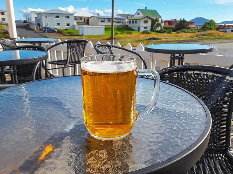 Traditional Icelandic beer in a big mug