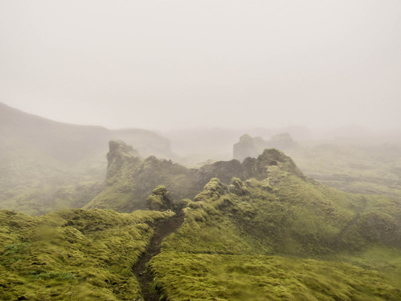 Volcanic crater covered with moss in foggy weather in Iceland