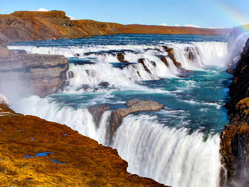 Gullfoss Waterfall on a sunny day in Iceland