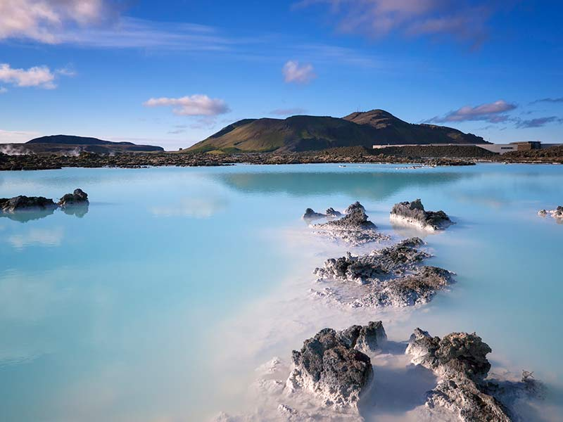nice view of the blue lagoon on iceland