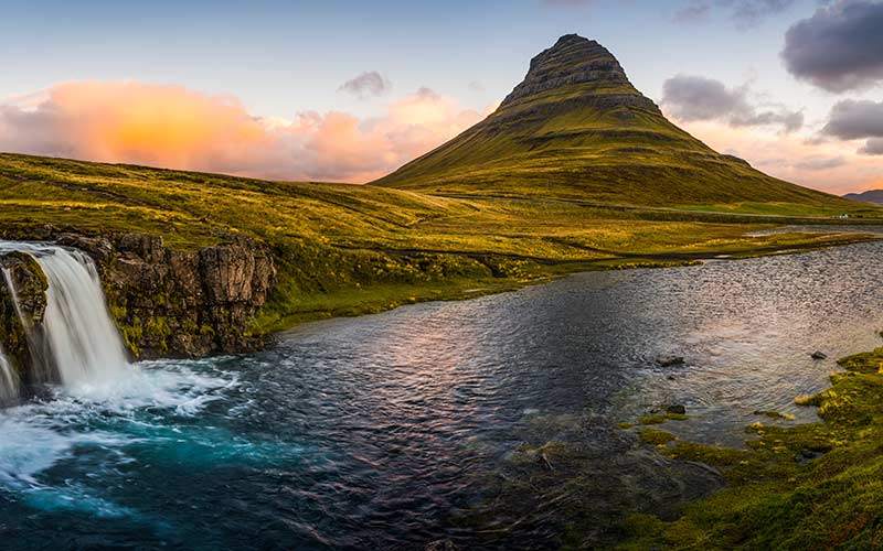 Kirkjufell at sunrise in Iceland