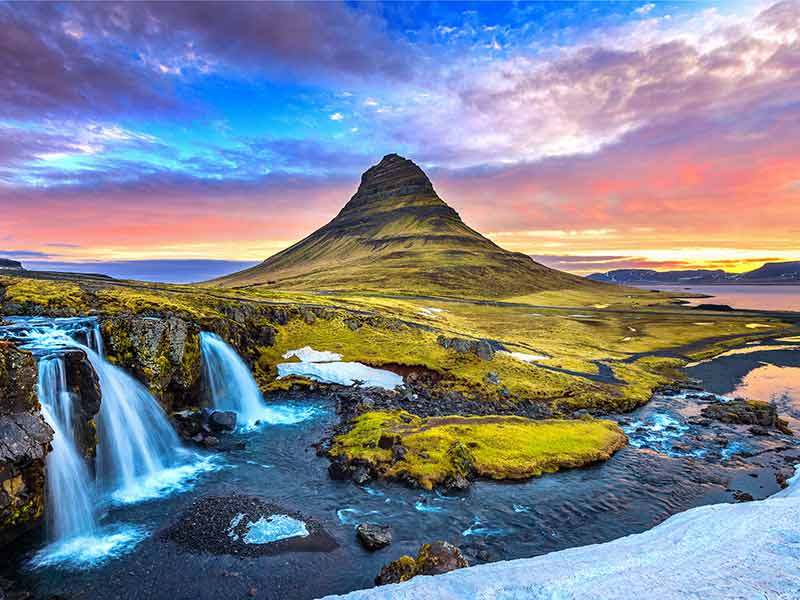 Kirkjufell at sunrise in Iceland