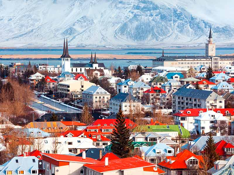 Beautiful view of Reykjavik city on a sunny day
