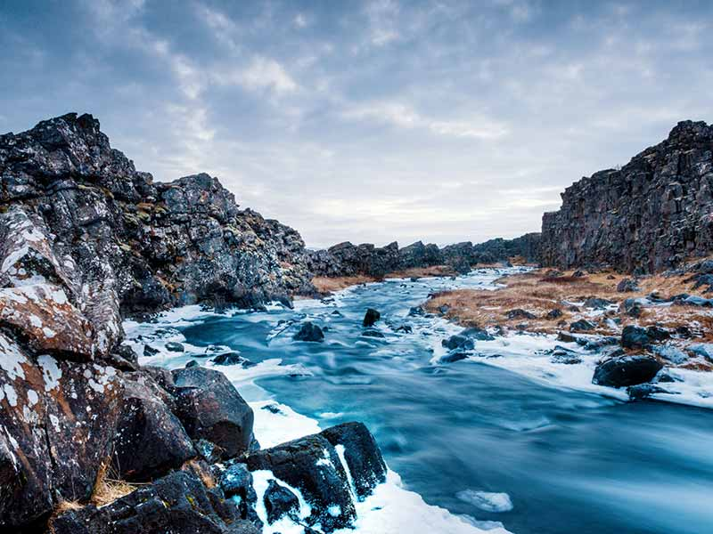 Öxará River Winter Landscape Thingvellir National Park Iceland