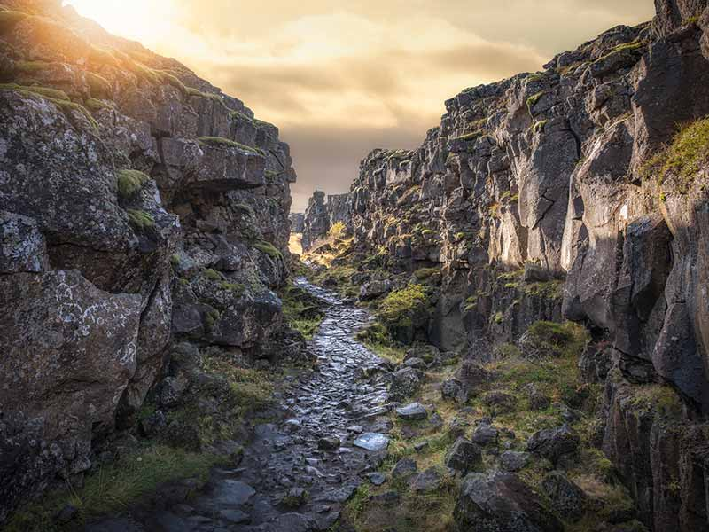 Stone Path through Pingvellir National Park in Iceland