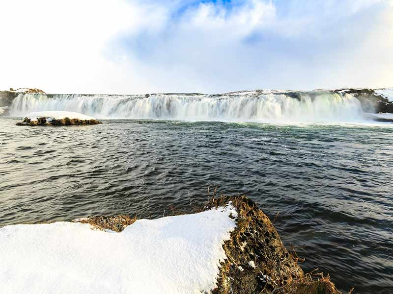 Faxafoss waterfalls along the Golden Circle route in snowy Winter Iceland
