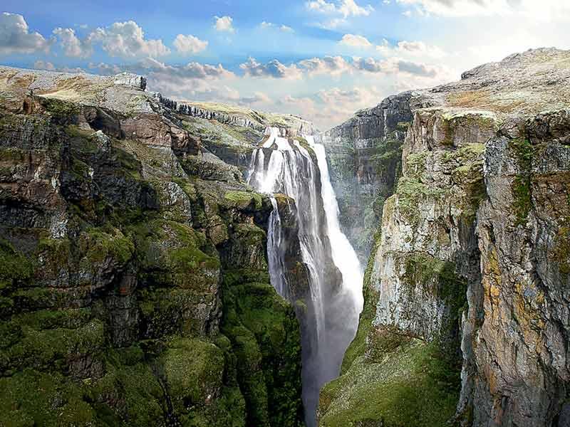 Glymur waterfall, Botnsdalur, Hvalfjörður, Iceland