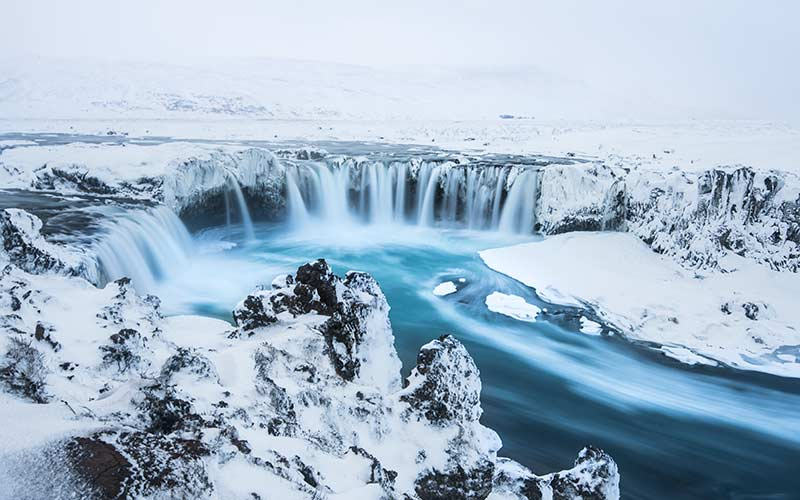 Beautiful winter Godafoss waterfall in Iceland,