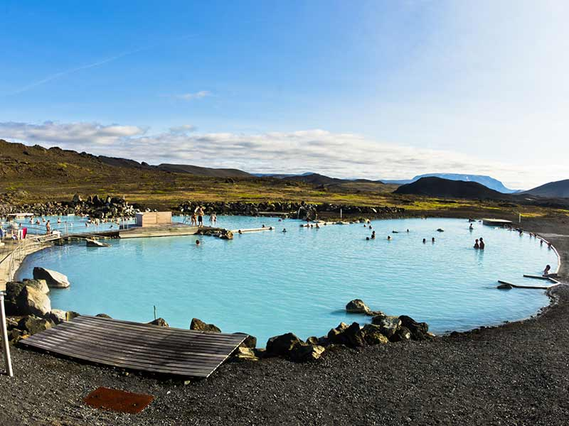 Natural baths with geothermal spring near lake Myvatn