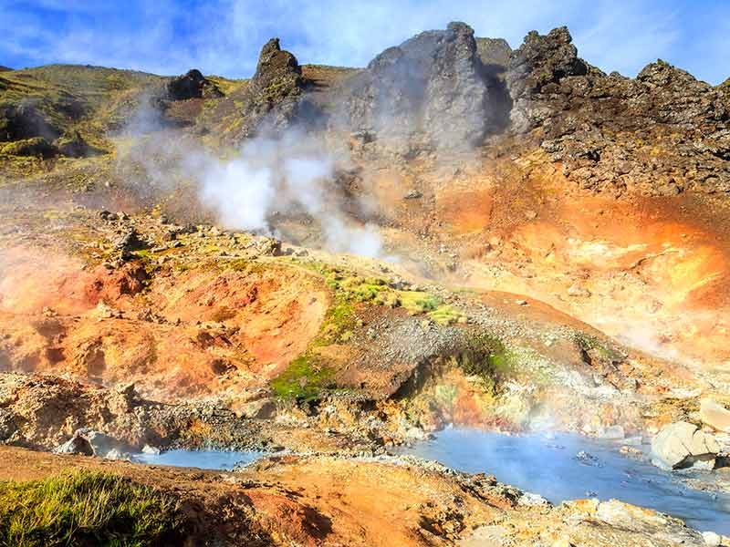 Boiling water and mud in the Reykjadalur valley in South Iceland