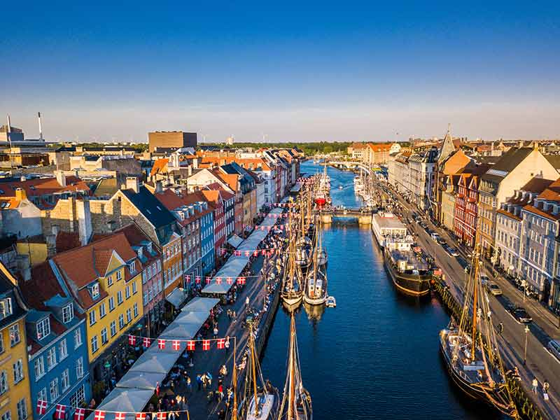 Copenhagen, Denmark. New Harbour canal and entertainment famouse street