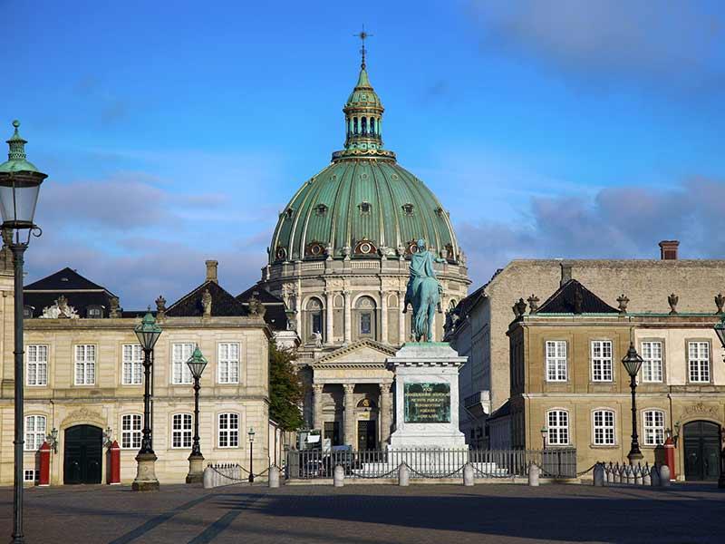 Frederik's Church (Danish: Frederiks Kirke) and Sculpture of Frederik V on Horseback in Amalienborg Square in Copenhagen, Denmark