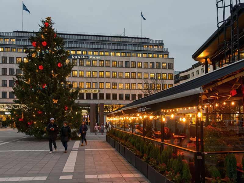 Norrmalmstorg in the center of Stockholm, Sweden.