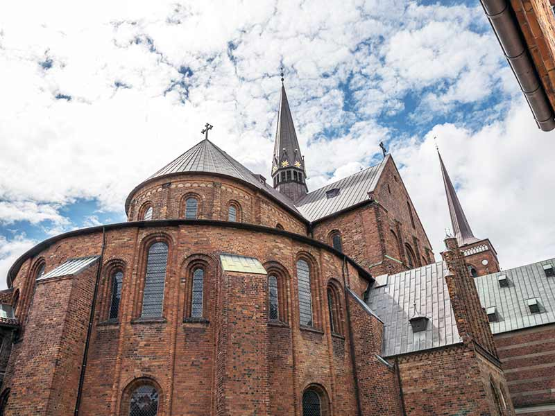 Roskilde cathedral in the ancient town of Roskilde, Denmark.