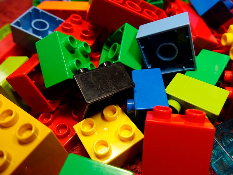 Lego blocks that you can build with in the Lego House in Billund, Denmark