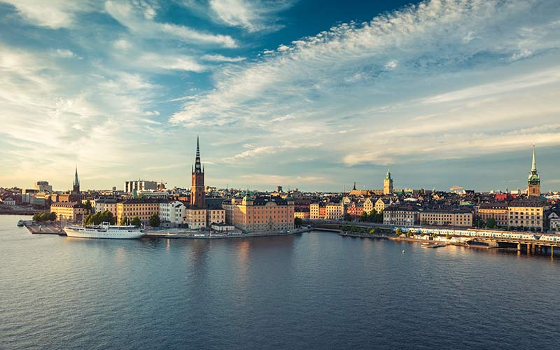 Panoramic view of Stockholm old town, Sweden