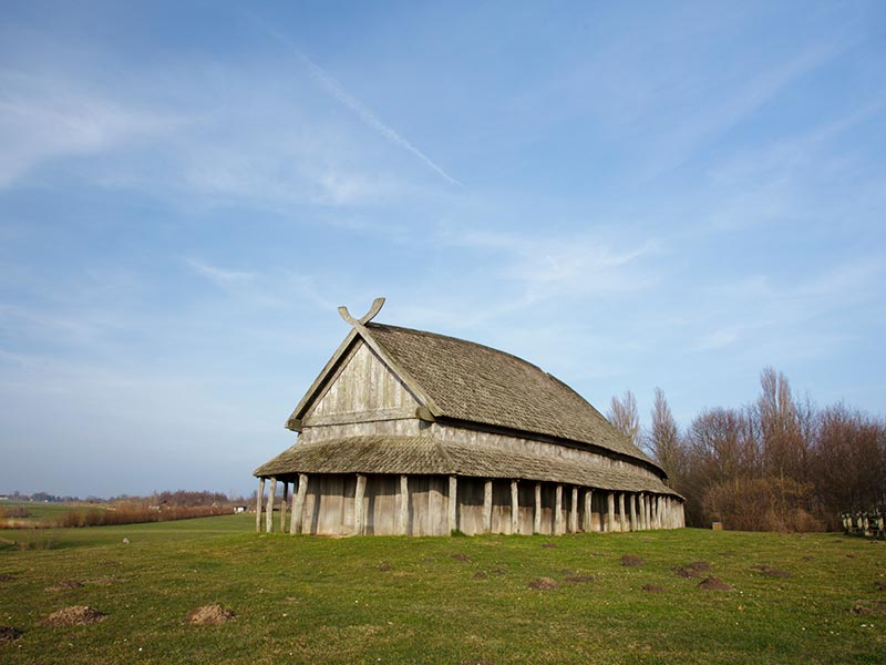 A remake of a viking house at Trelleborg - a viking fortification from circa 980 near Slagelse, Denmark