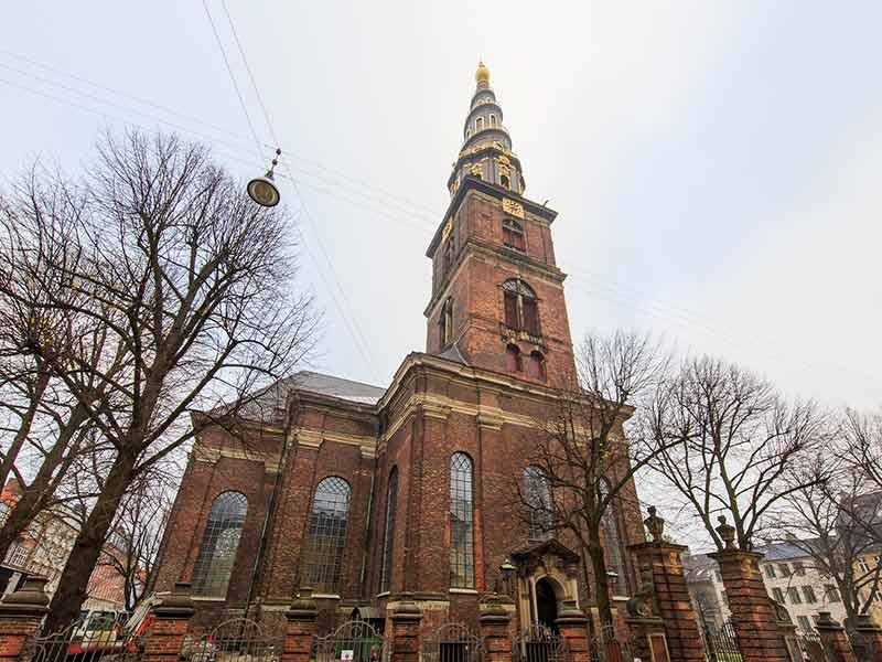 Traveling in the famous Vor Frelser Kirke, Copenhagen around Autumn season