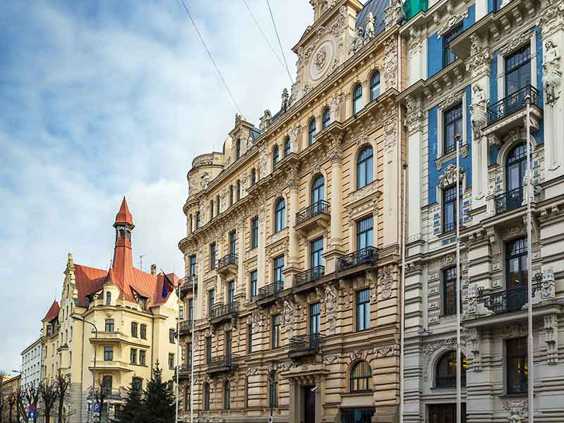 magnificent art Nouveau style house in the Centre of Riga, Latvia