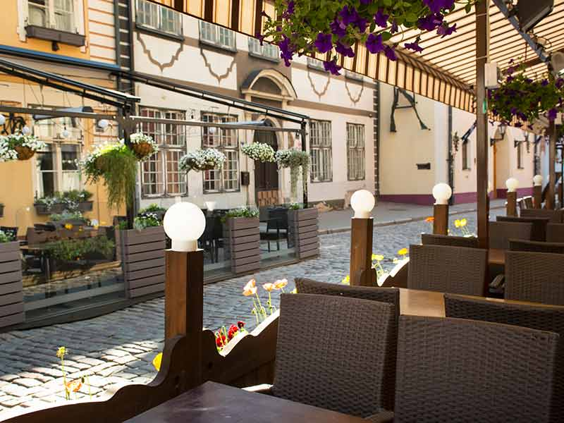 Cafe Bar in the morning in the old European city Riga. Latvia.