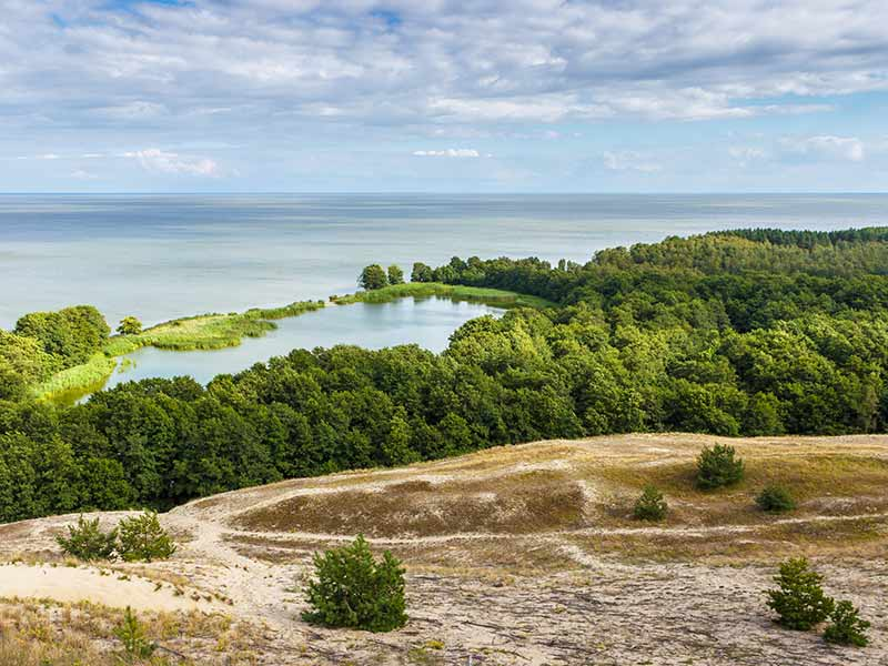 View of dunes and Baltic Sea. Curonian Spit in Lithuania