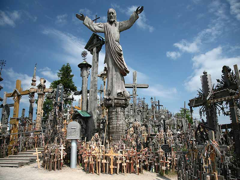 This is the Hill Of Crosses Jurgaiciu Meskuiciu Siauliai, Lithuania
