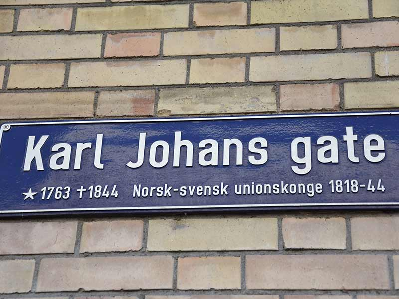 Oslo street name sign Karl Johans gate