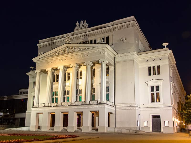Latvian National Opera in the evening in Riga
