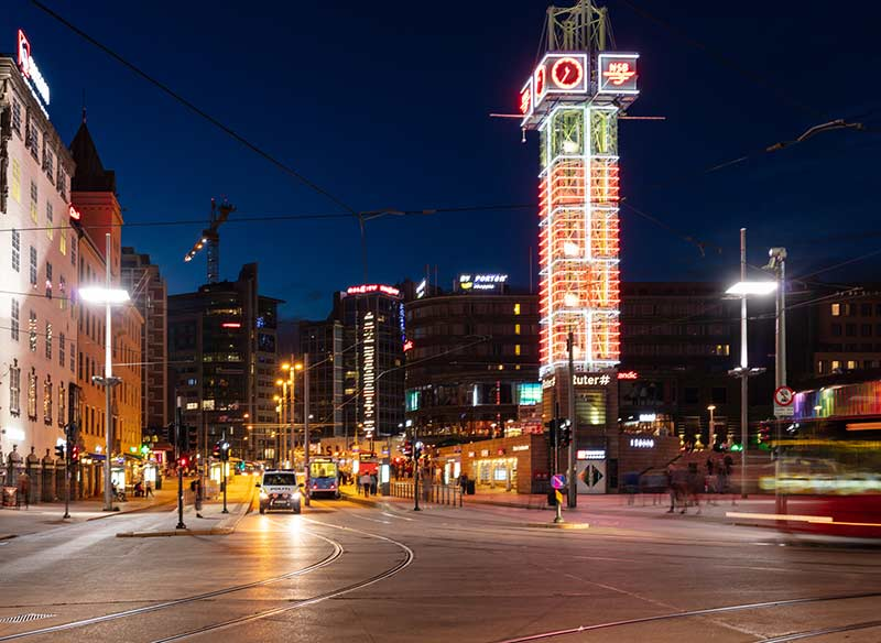 Night view of Jernbanetorget square, Oslo, Norway.
