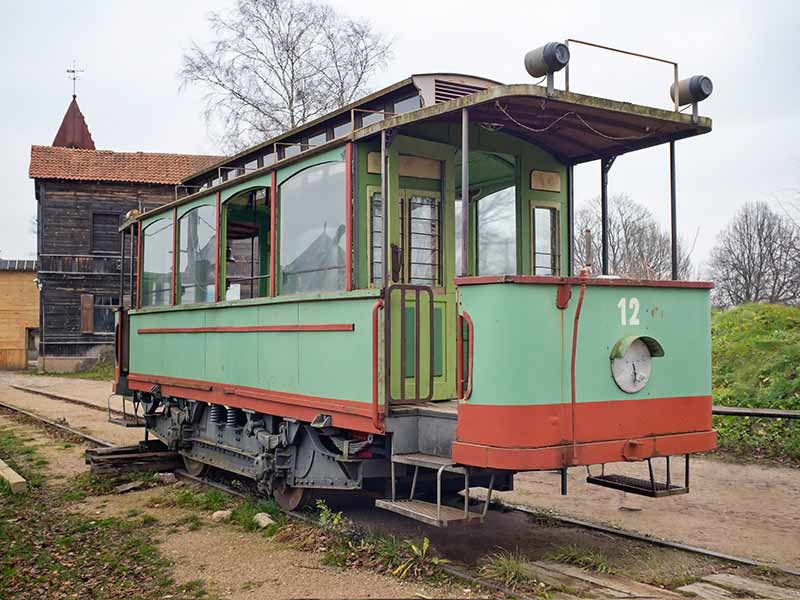 Old tramcar on a railway. Cinevilla, Latvia.