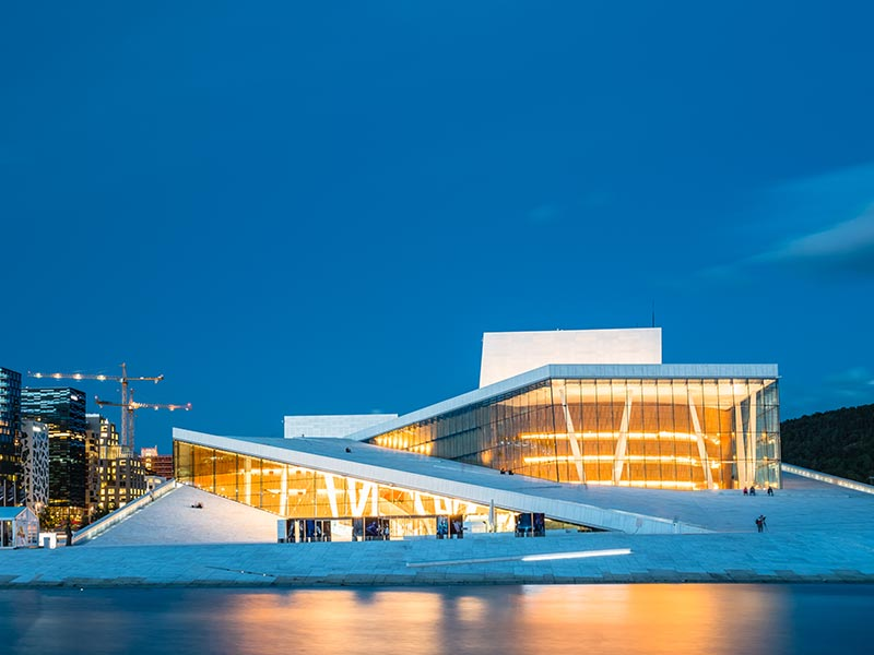 Night View of The Oslo Opera House Is The Home Of The Norwegian National Opera And Ballet, Norway