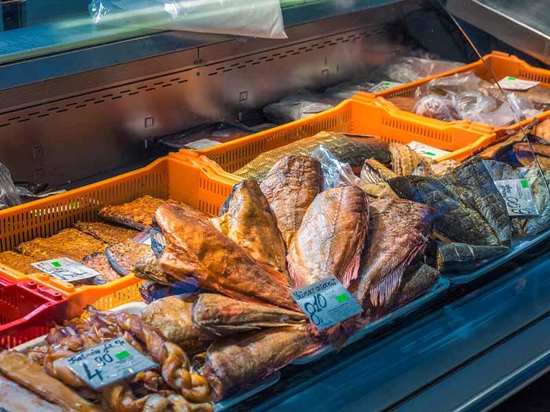 Fish for sale in Riga Central Market, Latvia.