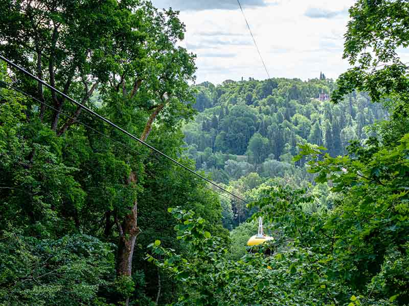 cable car crossing valley of Gauja in Sigulda, Latvia.