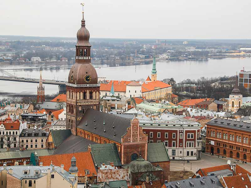 View at Riga from the tower of Saint Peter's Church, Latvia.