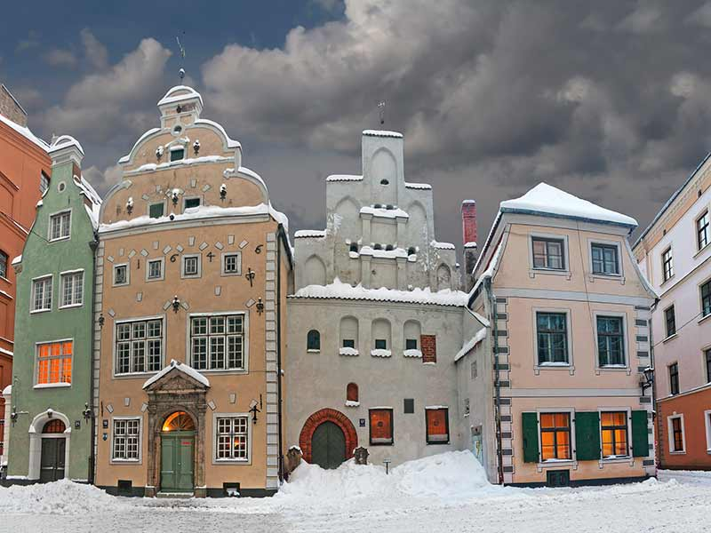 Three Brothers - complex of three medieval houses of seventeenth century in Riga, Latvia