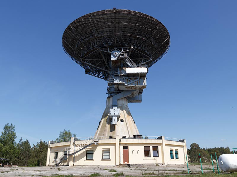 Ventspils International Radio Astronomy Center on a sunny day with blue Skies in Latvia