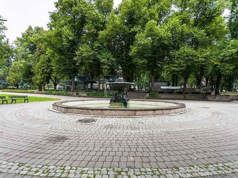 oldest city fountain in Vermanes Garden in Riga, Latvia.