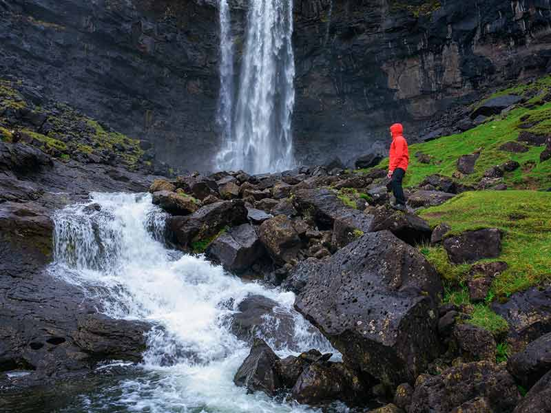Fossa Waterfall on island Bordoy in the Faroe Islands