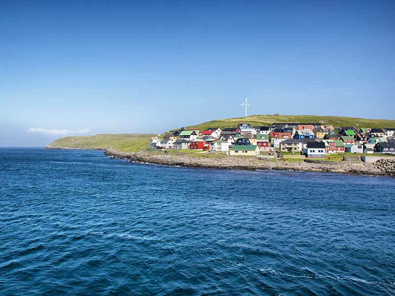 Nolsoy Island on a sunny summer day, Faroe Islands