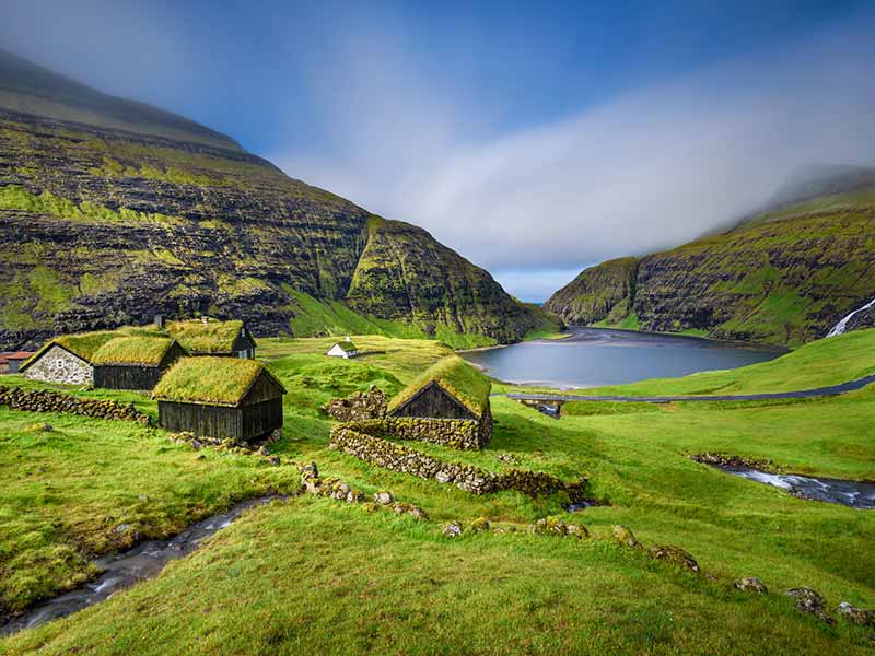 Village of Saksun located on the island of Streymoy, Faroe Islands