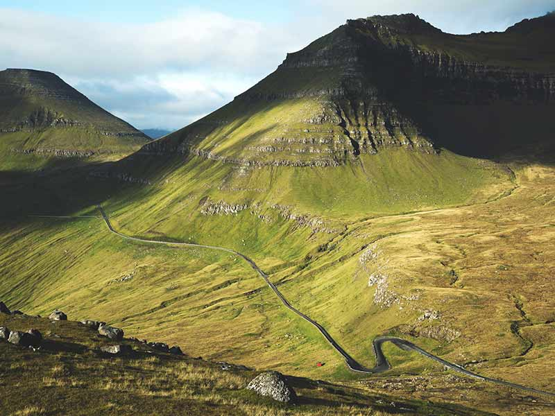 Windy roads of the Faroe Islands