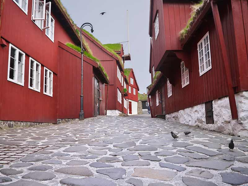Typical old red-painted houses on Tinganes in the old town of Tórshavn of the Faroe Islands